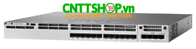 Switch Cisco WS-C3850-16XS-E Catalyst 3850 12 SFP+ port stackable, with C3850-NM-4-10G module and 350WAC power supply, IP Services