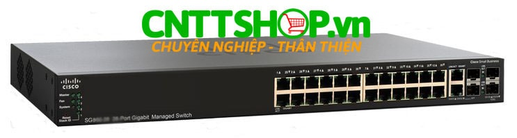 Switch Cisco SF250-24HP-K9-EU 24 10/100 ports PoE+ 185W, 2 Gigabit copper/SFP combo + 2 SFP ports