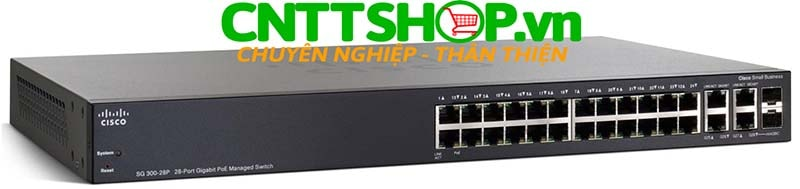 Switch Cisco SG300-28P 26 10/100/1000 ports (24 PoE ports with 180W), 2 combo mini-GBIC ports