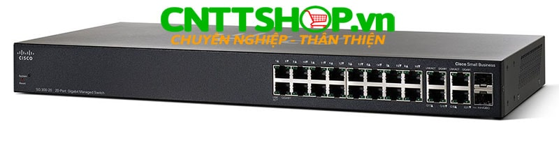Switch Cisco SG350-20 16 10/100/1000 ports, 2 Gigabit copper/SFP combo + 2 SFP ports