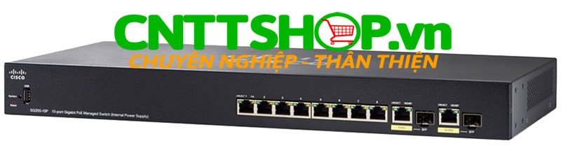 Switch Cisco SG355-10P-K9 8 10/100/1000 Ports PoE+ 62W, 2 combo mini-GBIC ports