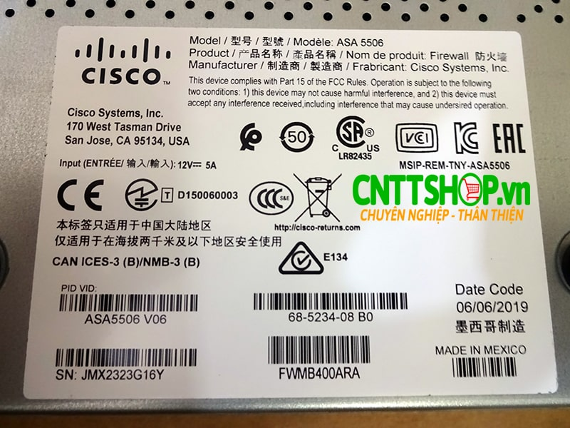 ASA5506-K9 Cisco ASA 5506-X with FirePOWER services, 8GE Data, 1GE Mgmt, AC, 3DES/AES | Image 3