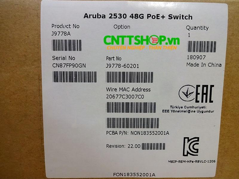 J9778A Switch Aruba 2530 48 Ports 10/100 PoE+ 382W, 4 Uplink Ports | Image 7