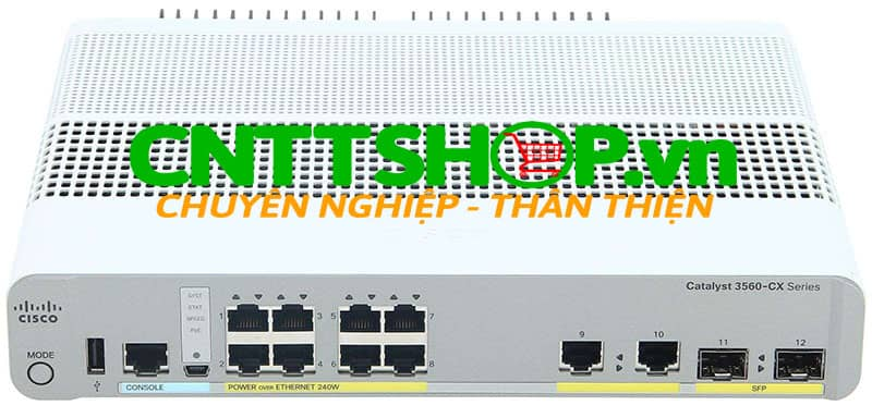 Switch Cisco WS-C3560CX-8TC-S Cisco Catalyst 3560-CX 8 Port uplinks: 2 x 1G SFP and 2 x 1G copper IP Base
