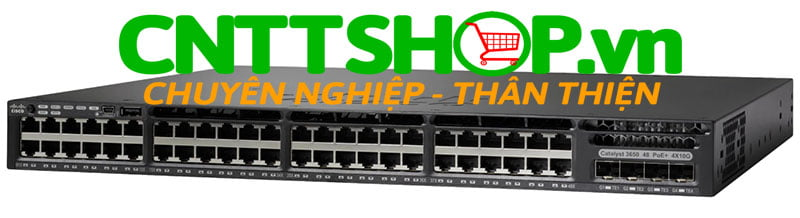 Switch Cisco WS-C3650-48FQM-S 48 10/100/1000 Ethernet PoE+ and 4x10G Uplink ports, with fixed 975WAC PS, 1 RU, IP Base