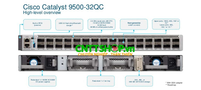 Switch Cisco C9500-32QC-A 32-port 40G switch, NW Adv. License