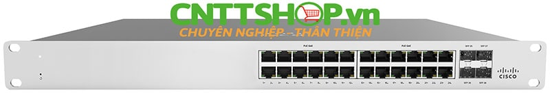 Cisco Meraki MS120-24P-HW with 24 Ports PoE+ 370W, 4 GE SFP Uplink