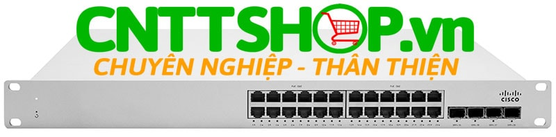 Thiết bị mạng switch Cisco Meraki MS250-24P Stackable Layer-3 24-port gigabit 370W PoE 4 SFP+, hot-swappable PS