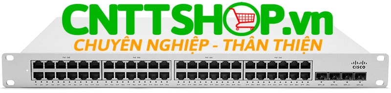 Thiết bị mạng Switch Cisco Meraki MS225-48LP Stackable Layer-2 48-port gigabit 370W PoE switch 4 SFP+ interfaces