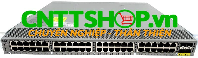 Thiết bị mạng switch cisco Nexus N2K-C2248TF-1GE 1GE Fabric Extender, 2 AC PS, 1 Fan Module (Standard Airflow/port side exhaust), 48x100/1000Base-T + 4x10GE (includes 8 Fabric Extender Transceivers)