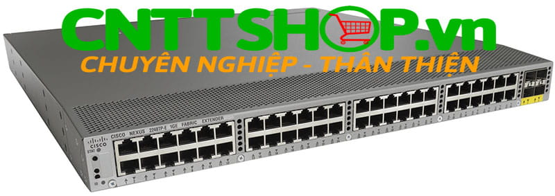 Switch Cisco Nexus N2K-C2248TF-E 1GE Fabric Extender, 2PS, 1 Fan Module, 48x100/1000Base-T + 4x10GE (includes 8 Fabric Extender Transceivers), 32MB buffer, choice of airflow and power supply