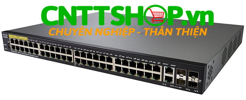 Switch Cisco SF350-48MP-K9 48 10/100 PoE+ ports with 740W, 2 SFP slots, 2 combo mini-GBIC ports