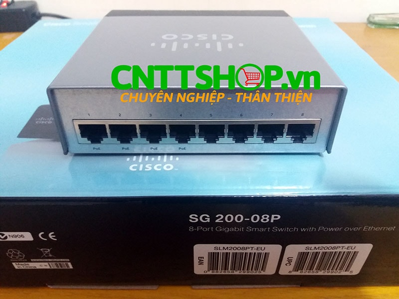 Switch Cisco SG200-08P 8 10/100/1000 ports, 4 ports PoE with 32W