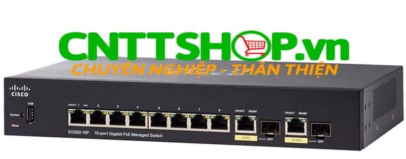 Switch Cisco SG350-10MP-K9 8 10/100/1000 ports with 128W power budget, 2 combo mini-GBIC ports