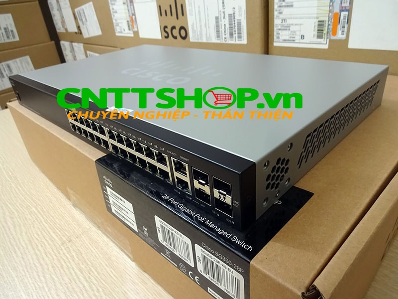 Switch Cisco SG350-28P 24 Ports PoE 195W, 2 SFP slots, 2 combo mini-GBIC ports