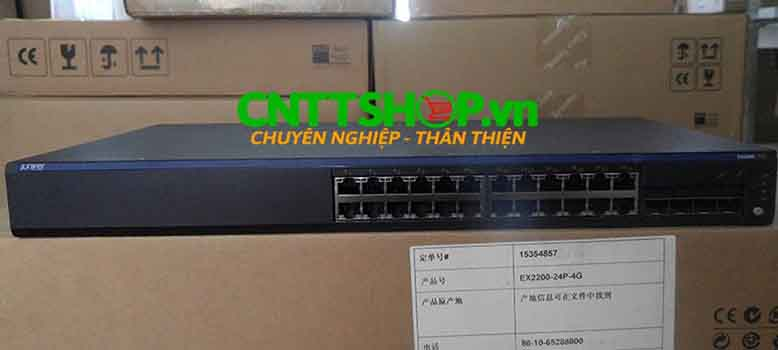 Switch Juniper EX2200-24P-4G-TAA Trade Agreement Act-compliant, 24 Ports 10/100/1000BaseT (24-ports PoE) with 4 SFP uplink ports