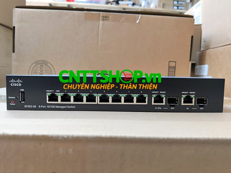 Switch Cisco SF352-08 8 10/100 ports, 2 Gigabit copper/SFP combo