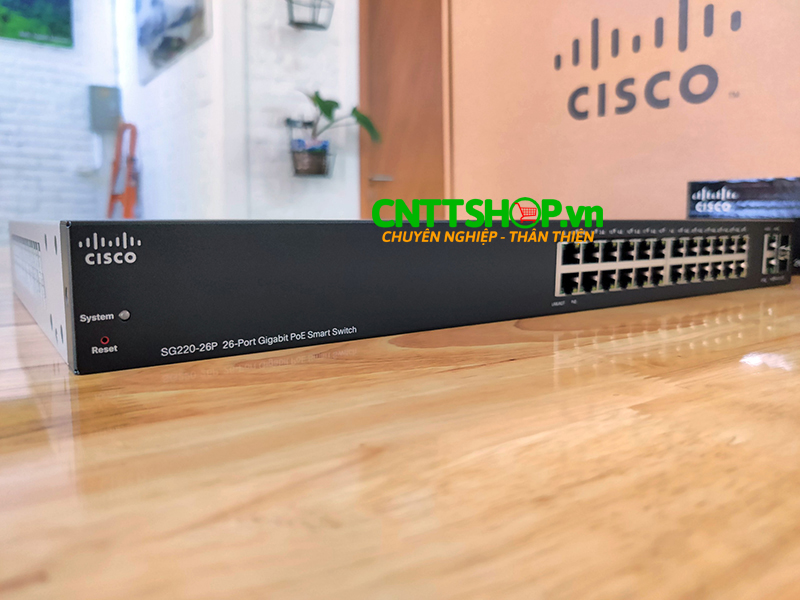 Switch Cisco SG220-26P 24 10/100/1000 PoE ports with 180W, 2 Gigabit RJ45/SFP combo port