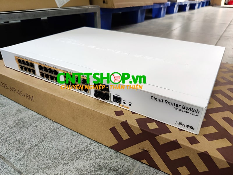 MikroTik CRS328-24P-4S+RM 24 port Gigabit Ethernet router/switch.